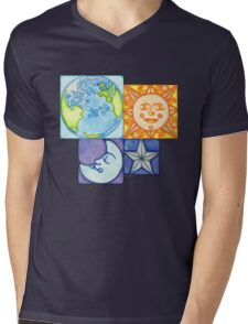 Earth Sun Moon Star Mens V-Neck T-Shirt