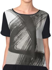 Abstract Drawing Black White Chiffon Top