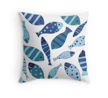 Seamless vector pattern of fish Throw Pillow