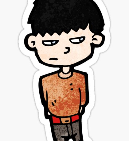 unhappy boy cartoon Sticker