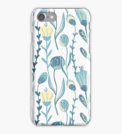 Elegant seamless pattern with flowers, vector illustration iPhone Case/Skin