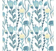 Elegant seamless pattern with flowers, vector illustration Photographic Print