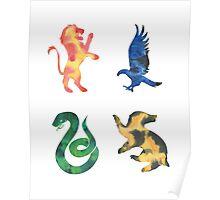 House Lion Eagle Snake Badger Watercolor Poster