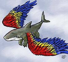 Sharkbird with crocodile legs by Julie Duczynski