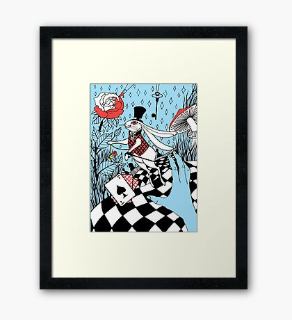 white rabbit with a pocket watch Framed Print