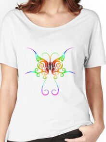 Tribal rainbow butterfly tattoo Women's Relaxed Fit T-Shirt