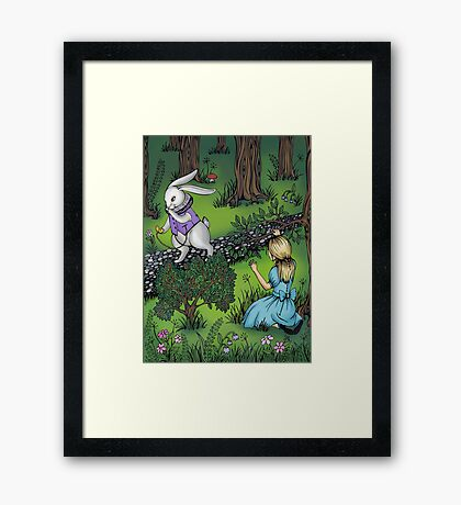 Alice watches a white rabbit. Framed Print