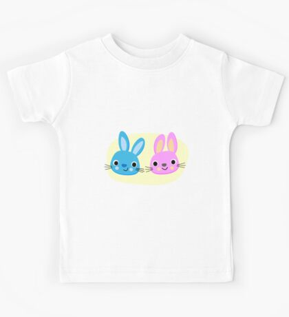 Cute pink and blue bunny cartoons Kids Tee