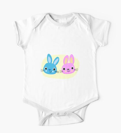 Cute pink and blue bunny cartoons One Piece - Short Sleeve