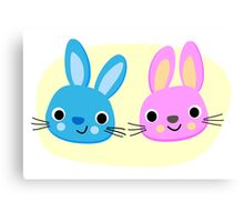 Cute pink and blue bunny cartoons Canvas Print