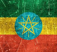 Vintage Aged and Scratched Ethiopian Flag by Jeff Bartels