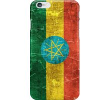 Vintage Aged and Scratched Ethiopian Flag iPhone Case/Skin