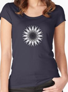 Grey Flower Black and White Women's Fitted Scoop T-Shirt
