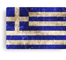Vintage Aged and Scratched Greek Flag Canvas Print