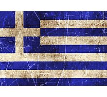 Vintage Aged and Scratched Greek Flag Photographic Print