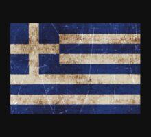 Vintage Aged and Scratched Greek Flag Kids Clothes