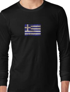 Vintage Aged and Scratched Greek Flag Long Sleeve T-Shirt
