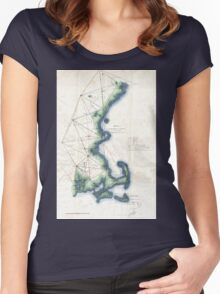 Vintage Coast of New England Cape Cod Map Women's Fitted Scoop T-Shirt