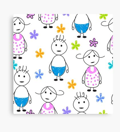 Kids drawing funny seamless pattern Canvas Print