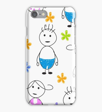 Kids drawing funny seamless pattern iPhone Case/Skin
