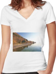Autumn by the lake Women's Fitted V-Neck T-Shirt