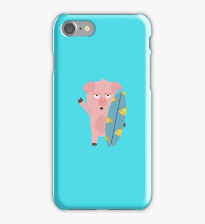 Surfin Pig with Surfboard iPhone Case/Skin