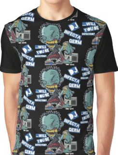 """DJ INFECTA GERM """"Loves music to death"""" Blue Foamposite Graphic T-Shirt"""