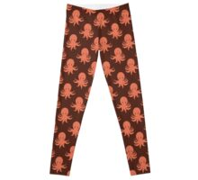 Orange Octopus Pattern Leggings