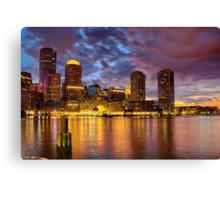 Sun dusk over Boston Harbor  Canvas Print