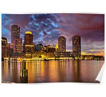 Sun dusk over Boston Harbor  Poster