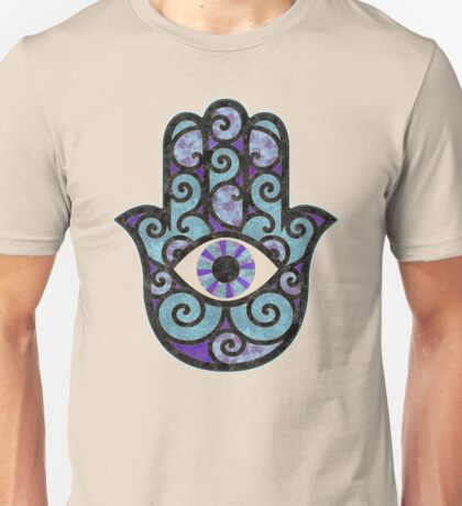 Hamsa Hand - purple and blues Unisex T-Shirt