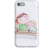 Happy siblings hanging out on the couch iPhone Case/Skin
