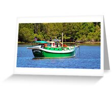 White And Green Boat Greeting Card
