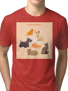Home Pets Set: Carrot, Dog, Rabbit, Fish and Cats. Vector illustration Tri-blend T-Shirt