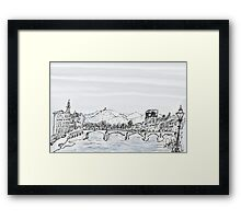 Firenze Italy a bridge over the Arno * Framed Print