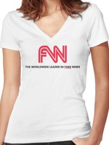 FNN: The Worldwide Leader In Fake News Women's Fitted V-Neck T-Shirt