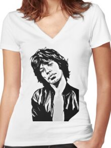mc jagger 2 Women's Fitted V-Neck T-Shirt