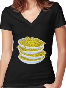 Glitch Food tangy noodles Women's Fitted V-Neck T-Shirt