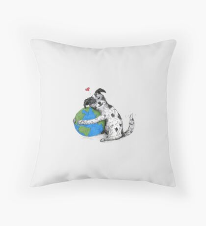 Australian Cattle Dog Love-Earth, by Artwork by AK Throw Pillow