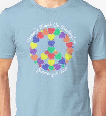Women's March On Washington Rainbow Heart Peace Sign Unisex T-Shirt