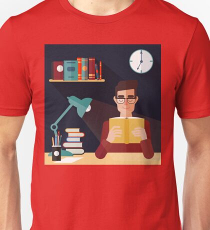 Concept of Reading Books. Man Reading Book at Home. Vector illustration in flat style Unisex T-Shirt