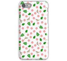 Pink flowers green leaves and branches spring design iPhone Case/Skin
