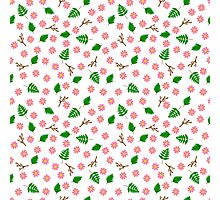 Pink flowers green leaves and branches spring design Photographic Print