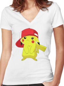 pikachu Women's Fitted V-Neck T-Shirt
