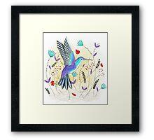 Hummingbird in Garden Framed Print
