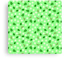 White flowers green leaves and branches spring design Canvas Print