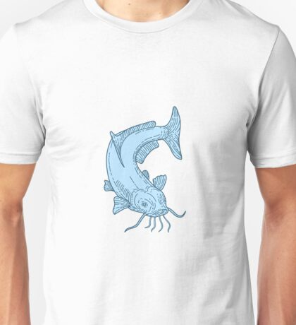 Catfish Mud Cat Diving Down Mono Line Unisex T-Shirt