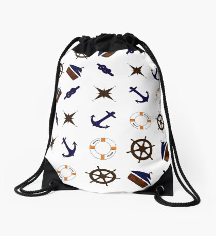 Fashionable nautical naval elements Drawstring Bag