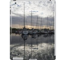 Silvery Boat Reflections - the Marina and the Pearly Clouds iPad Case/Skin