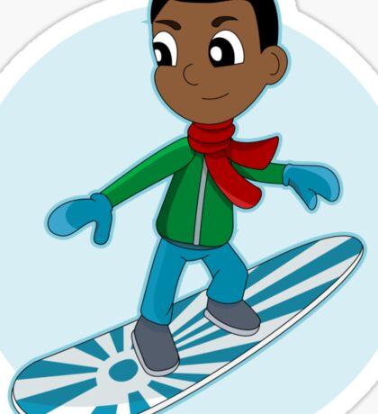 Snowboarding boy cartoon Sticker